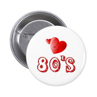 80's Hearts 6 Cm Round Badge