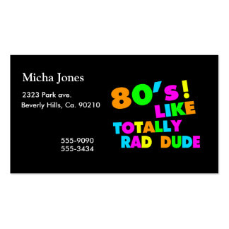 80's Like Totally Rad Dude Neon Double-Sided Standard Business Cards (Pack Of 100)