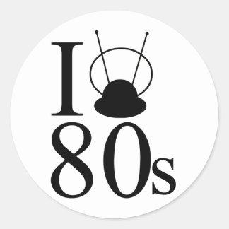 80s Love Round Sticker