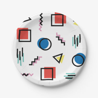 80's Memphis Abstract Style Paper Plate