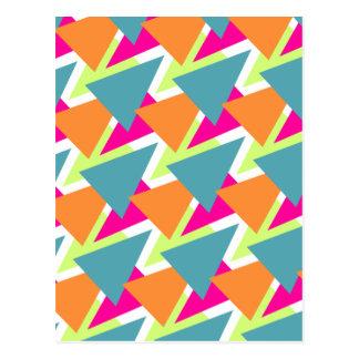 80's Neon Geometric Pattern Postcard