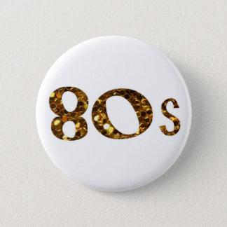 80s Nostalgia Gold Glitter 6 Cm Round Badge