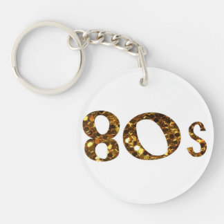 80s Nostalgia Gold Glitter Key Ring