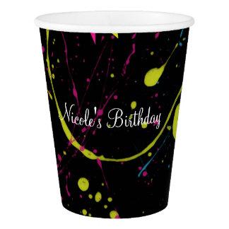 80's Paint Splatter Neon Birthday Party Paper Cups
