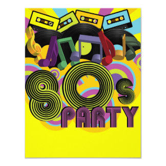 80s Party 11 Cm X 14 Cm Invitation Card