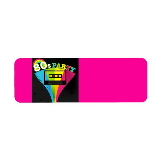 80s Party Background Return Address Label