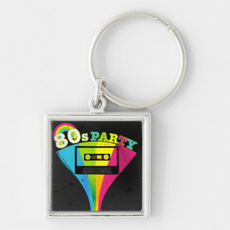 80s Party Background Silver-Colored Square Key Ring