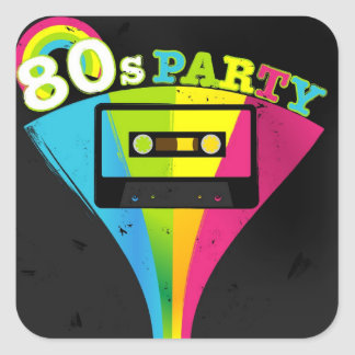80s Party Background Square Sticker