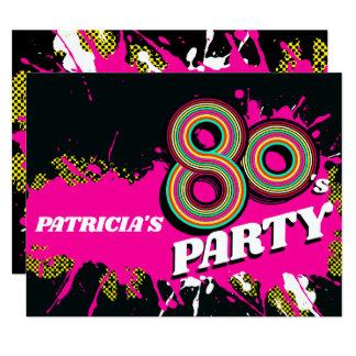 80's Party birthday or event retro pink invites