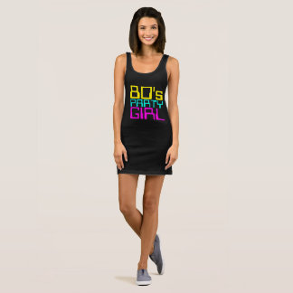 80s party girl ladies multi-colour logo sleeveless dress