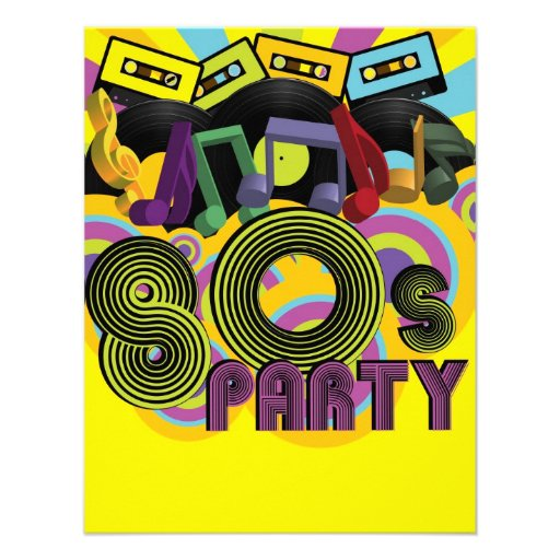 80s Party Personalized Invitations