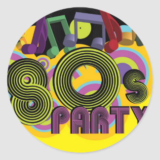 80s Party Round Sticker
