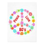 80s Peace Love Personalised Invites