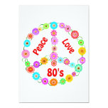 80s Peace Love Personalised Invites