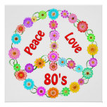 80s Peace Love Posters