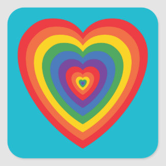 80's Rainbow Heart (concentric) Stickers