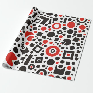 80s Red & White Geometric Pattern Retro Wrapping Paper