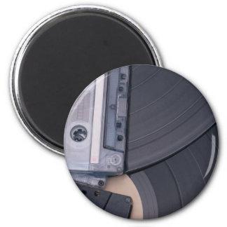80's Retro Cassette Tapes and Vinyl Records 6 Cm Round Magnet