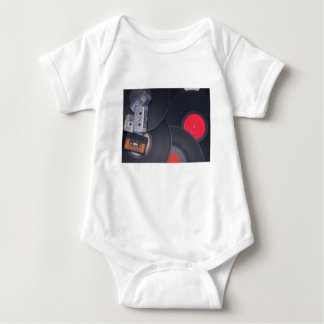 80's Retro Cassette Tapes and Vinyl Records Baby Bodysuit