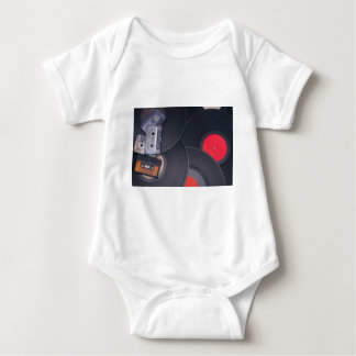 80's Retro Cassette Tapes and Vinyl Records Baby Bodysuit