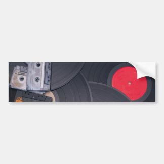 80's Retro Cassette Tapes and Vinyl Records Bumper Sticker
