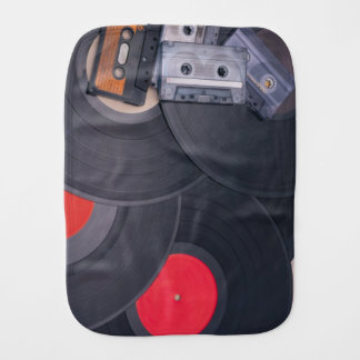 80's Retro Cassette Tapes and Vinyl Records Burp Cloth