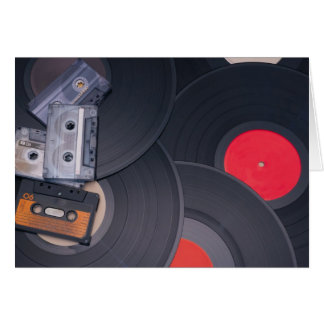 80's Retro Cassette Tapes and Vinyl Records Card
