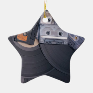 80's Retro Cassette Tapes and Vinyl Records Ceramic Ornament