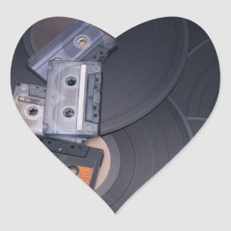 80's Retro Cassette Tapes and Vinyl Records Heart Sticker
