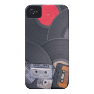 80's Retro Cassette Tapes and Vinyl Records iPhone 4 Case-Mate Case