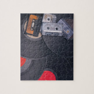 80's Retro Cassette Tapes and Vinyl Records Jigsaw Puzzle