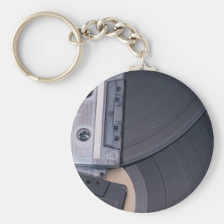 80's Retro Cassette Tapes and Vinyl Records Key Ring