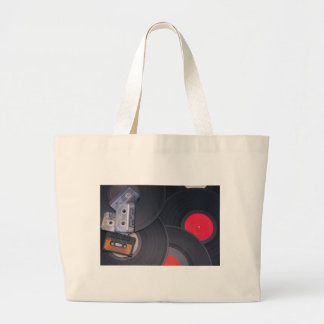 80's Retro Cassette Tapes and Vinyl Records Large Tote Bag