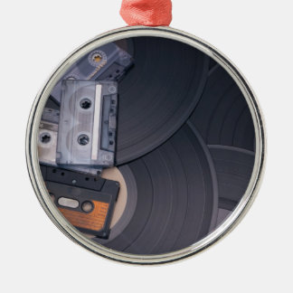 80's Retro Cassette Tapes and Vinyl Records Metal Ornament