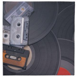 80's Retro Cassette Tapes and Vinyl Records Napkin