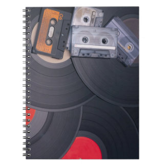 80's Retro Cassette Tapes and Vinyl Records Notebook
