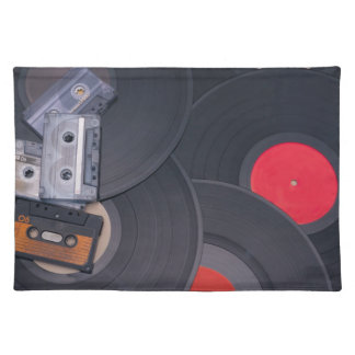 80's Retro Cassette Tapes and Vinyl Records Placemat