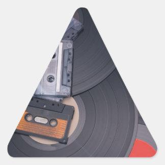 80's Retro Cassette Tapes and Vinyl Records Triangle Sticker