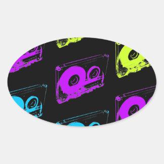 80's Retro Design - Audio Cassette Tapes Oval Sticker