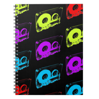 80's Retro Design - Audio Cassette Tapes Spiral Notebook