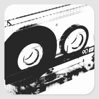 80's Retro Design - Audio Cassette Tapes Square Sticker