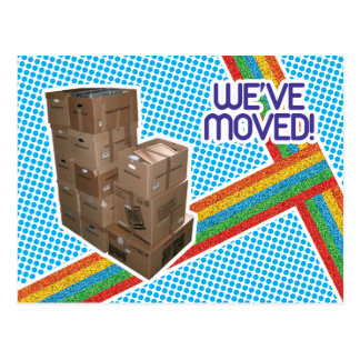 80s Retro Moving Announcement Postcard
