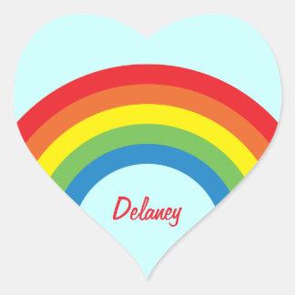 80's Retro Rainbow Heart Name Stickers
