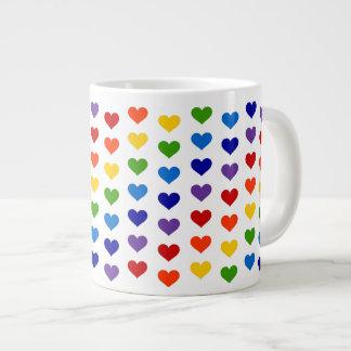 80's Retro Rainbow Hearts Jumbo Mug 20 Oz Large Ceramic Coffee Mug