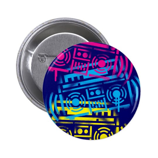 80's Stenciled Boomboxes 6 Cm Round Badge