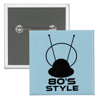 80s Style 2 Inch Square Button