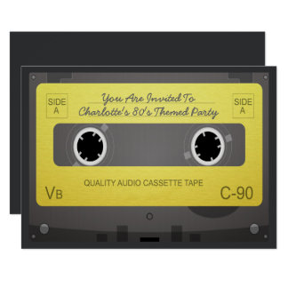 80s Style Retro Music Tape Party Card