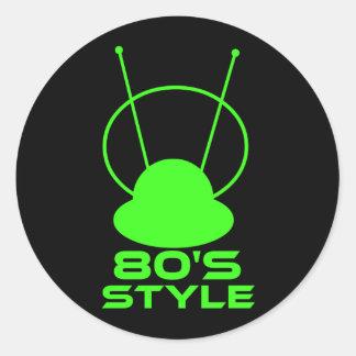80s Style Round Sticker