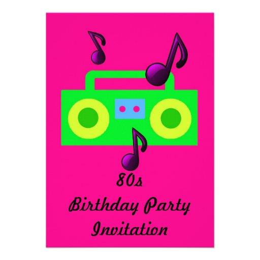 80s themed party invitation 80s boombox fluoro