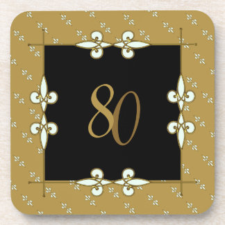 80th (10-99) Birthday/Anniversary Vintage Art Deco Coaster
